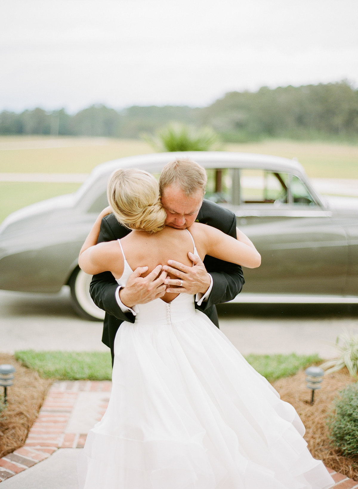 Emotional Father Daughter First Look at Charleston Wedding