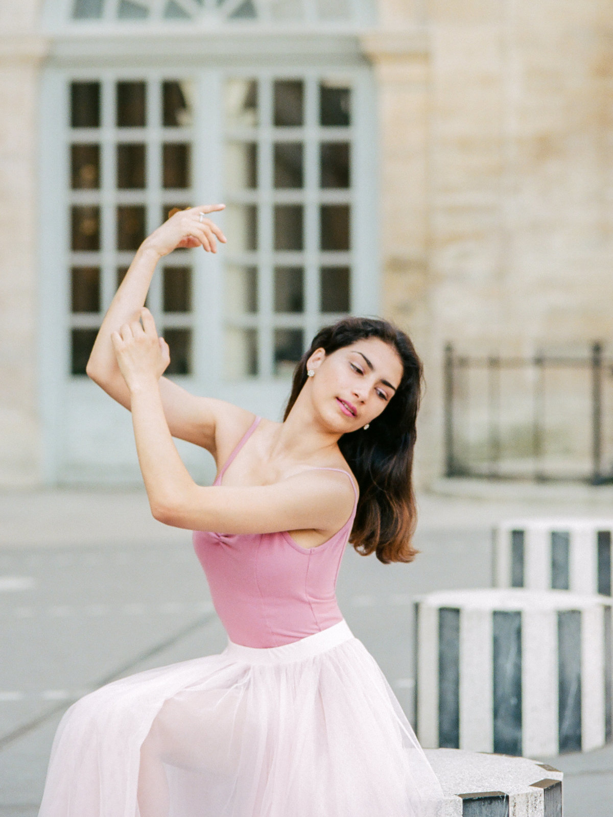 ballerina in pink tutu in paris