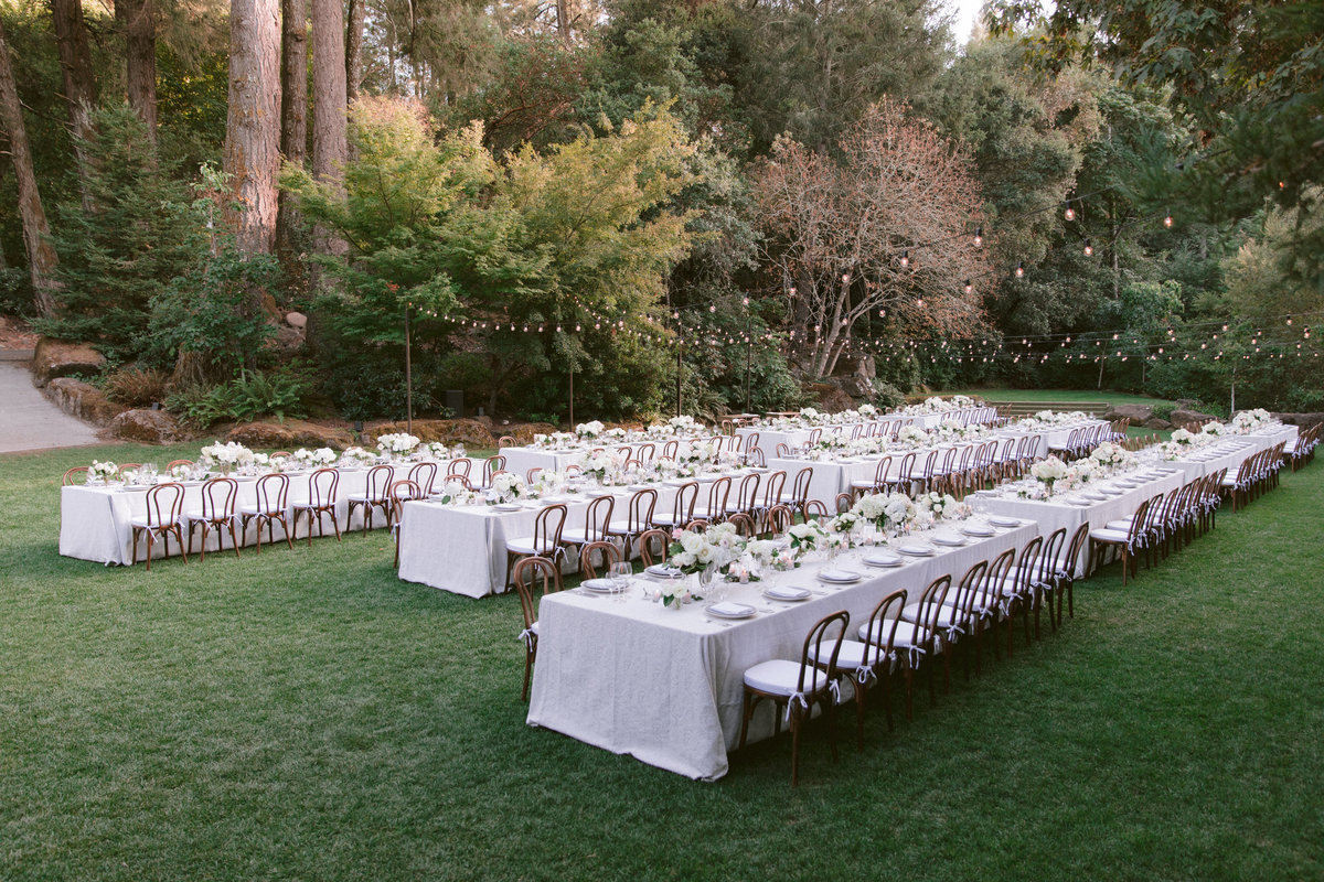 Reception for wedding by Jenny Schneider Events at Meadowood luxury resort in Saint Helena in Napa Valley, California.