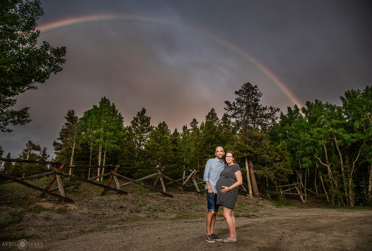 Rainbow Maternity Photo in Colorado Mountains