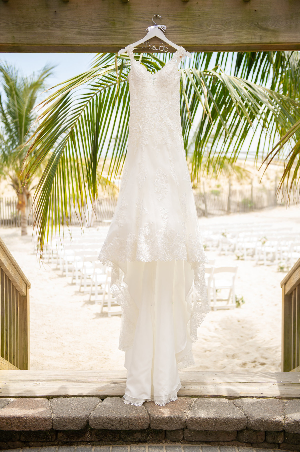 wedding dress with palm trees in beach haven