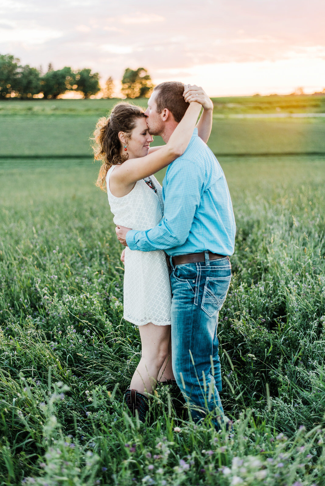 Country Sunset Engagement Session Nicole Corrine Omaha
