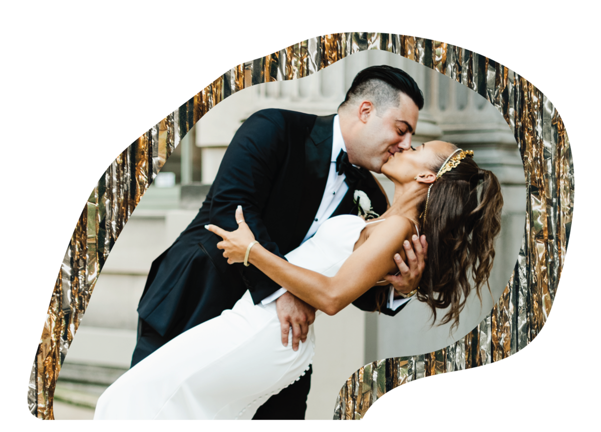 a cut out collage image of the groom dipping his bride at the larz anderson house in washington dc