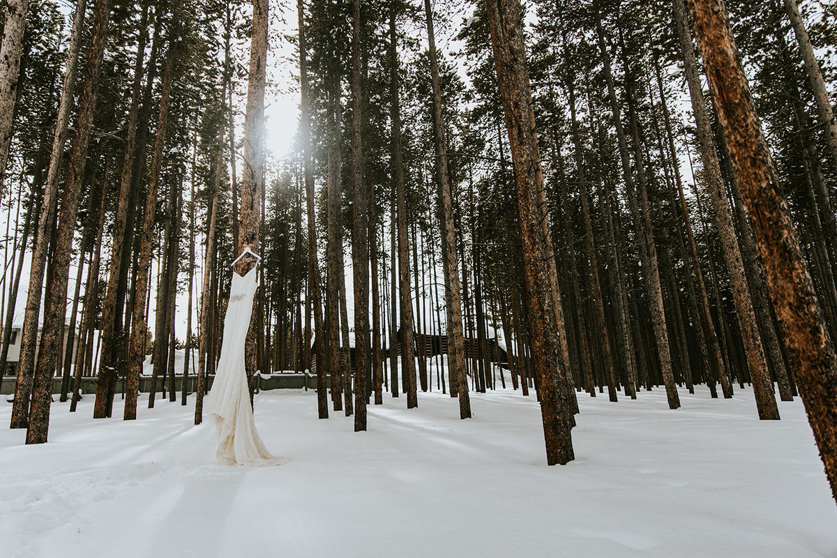 wedding dress hanging in the trees in Breckenridge Colorado
