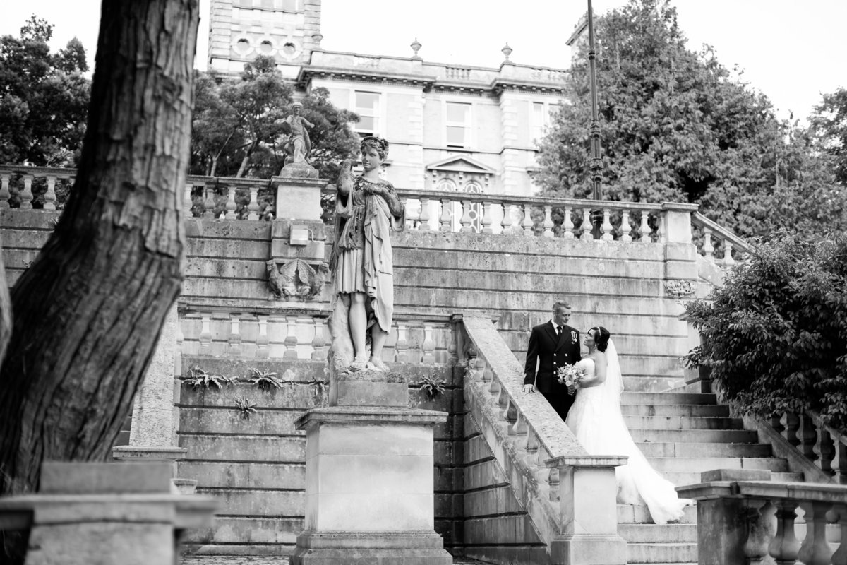 black and white wedding photo at reed hall exeter