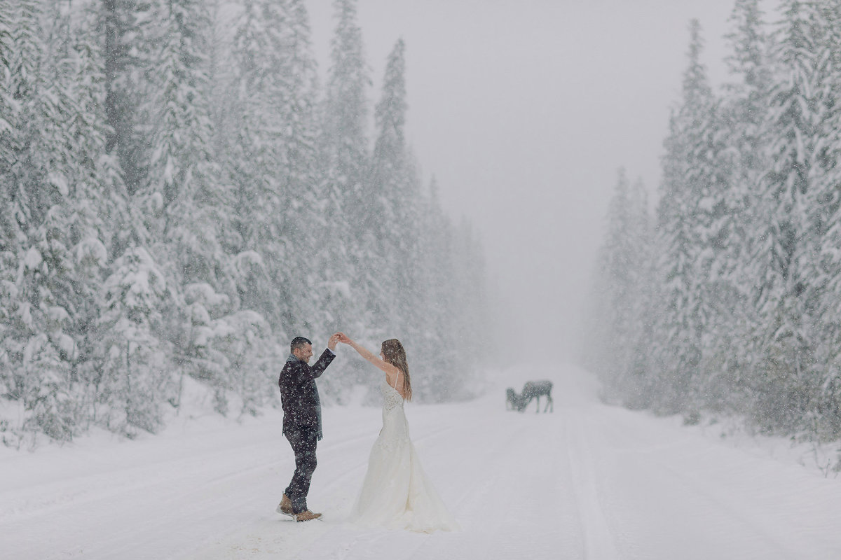 winter emerald lake lodge wedding dancing streets moose