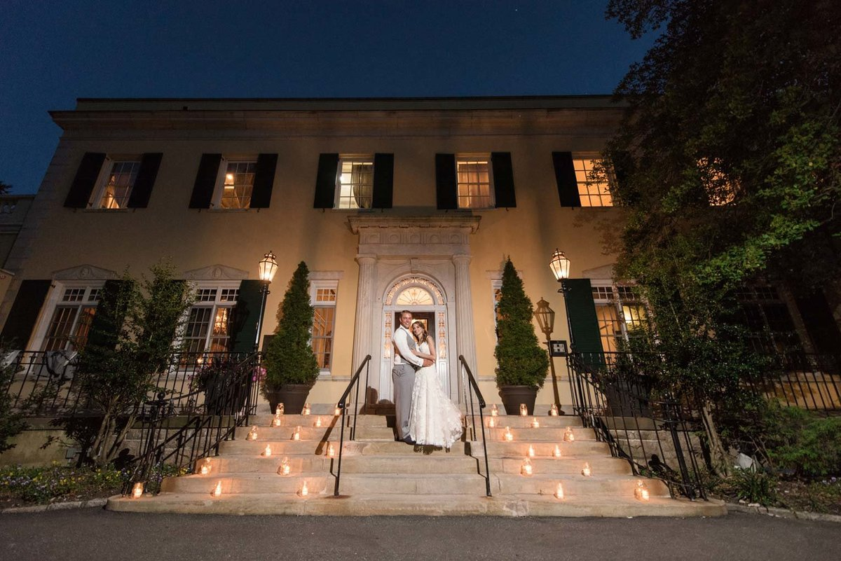 Night photo at the steps of The Mansion at Oyster Bay