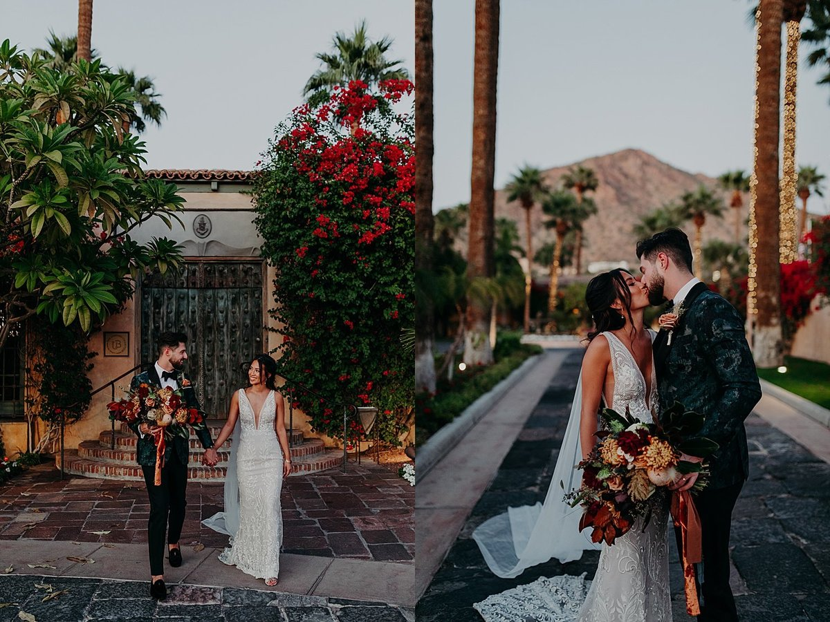 Bride and Groom walk together holding hands in a garden courtyard at sunset in Phoenix