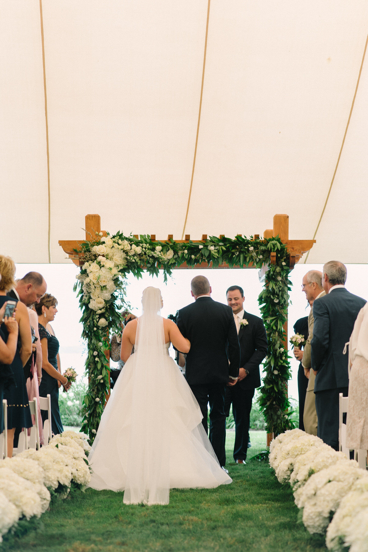 white ceremony floral, garland arch