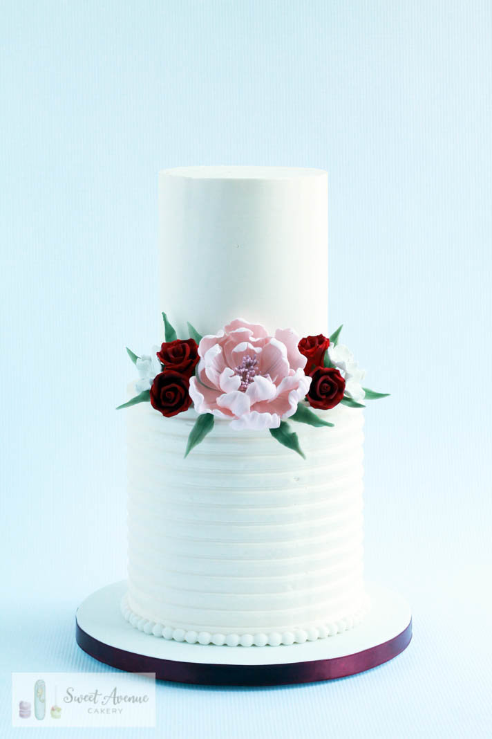 textured buttercream wedding cake with sugar flowers, Hamilton ON wedding cakes