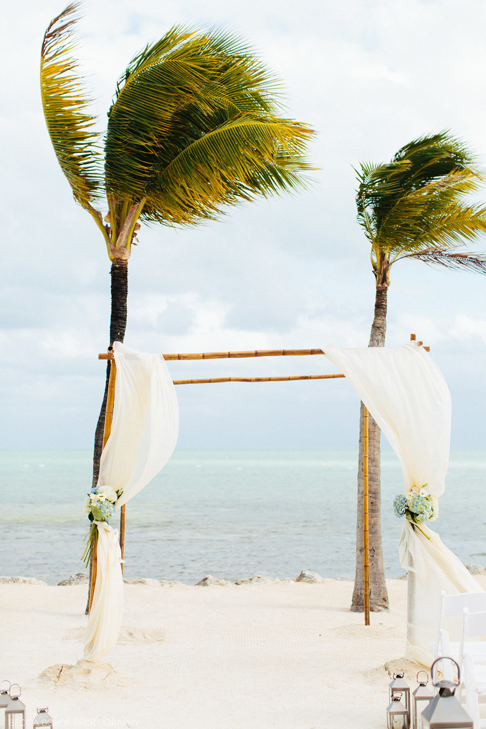 wedding arch on the beach with palm trees in the backgorund