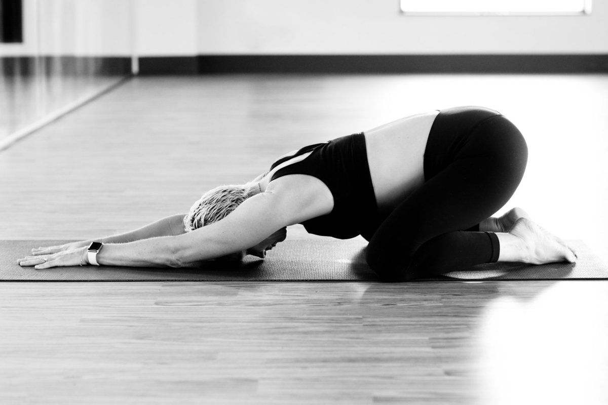In-Studio Yoga Photoshoot in black and white