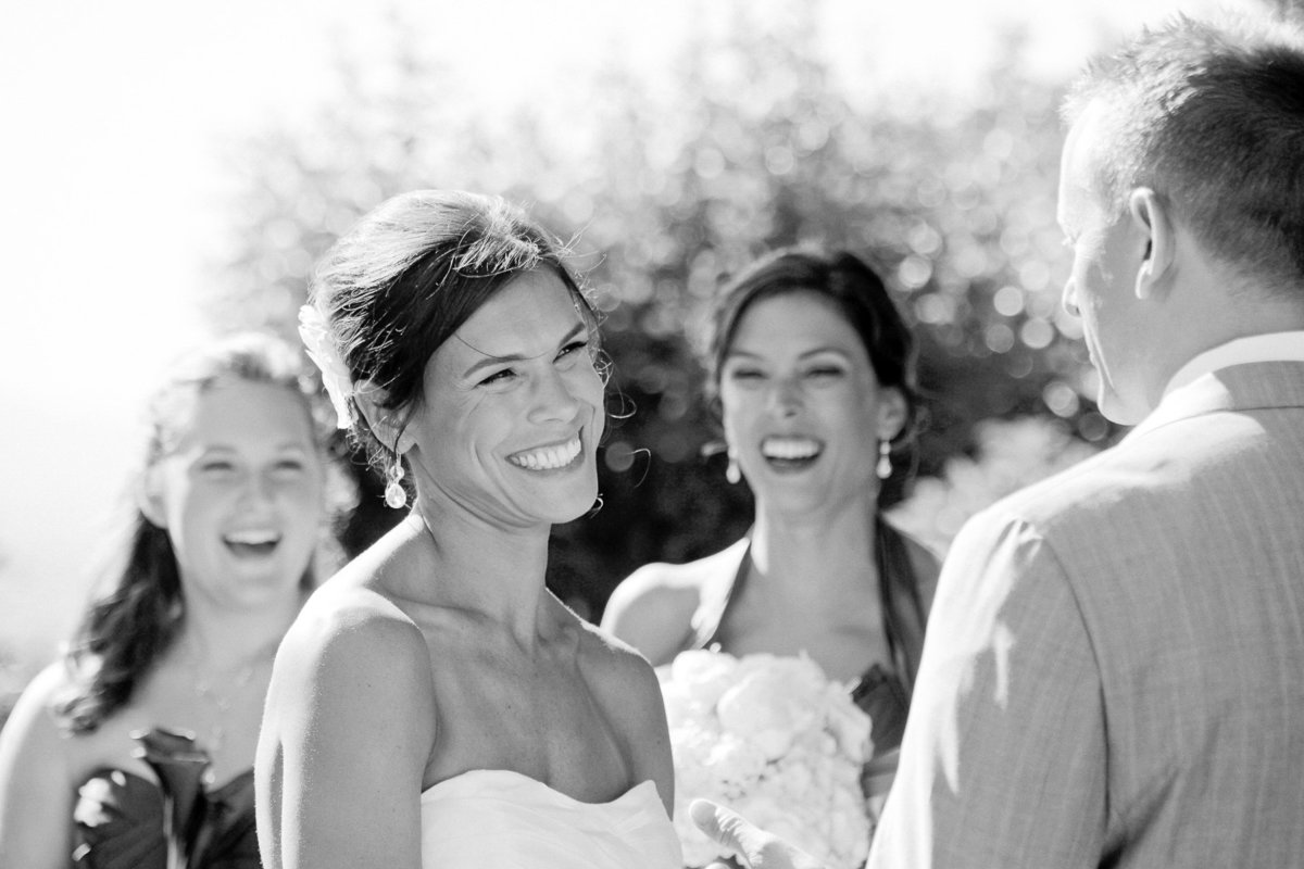 Black and white photo of couple during their outdoor ceremony at Maroon Winery in Napa