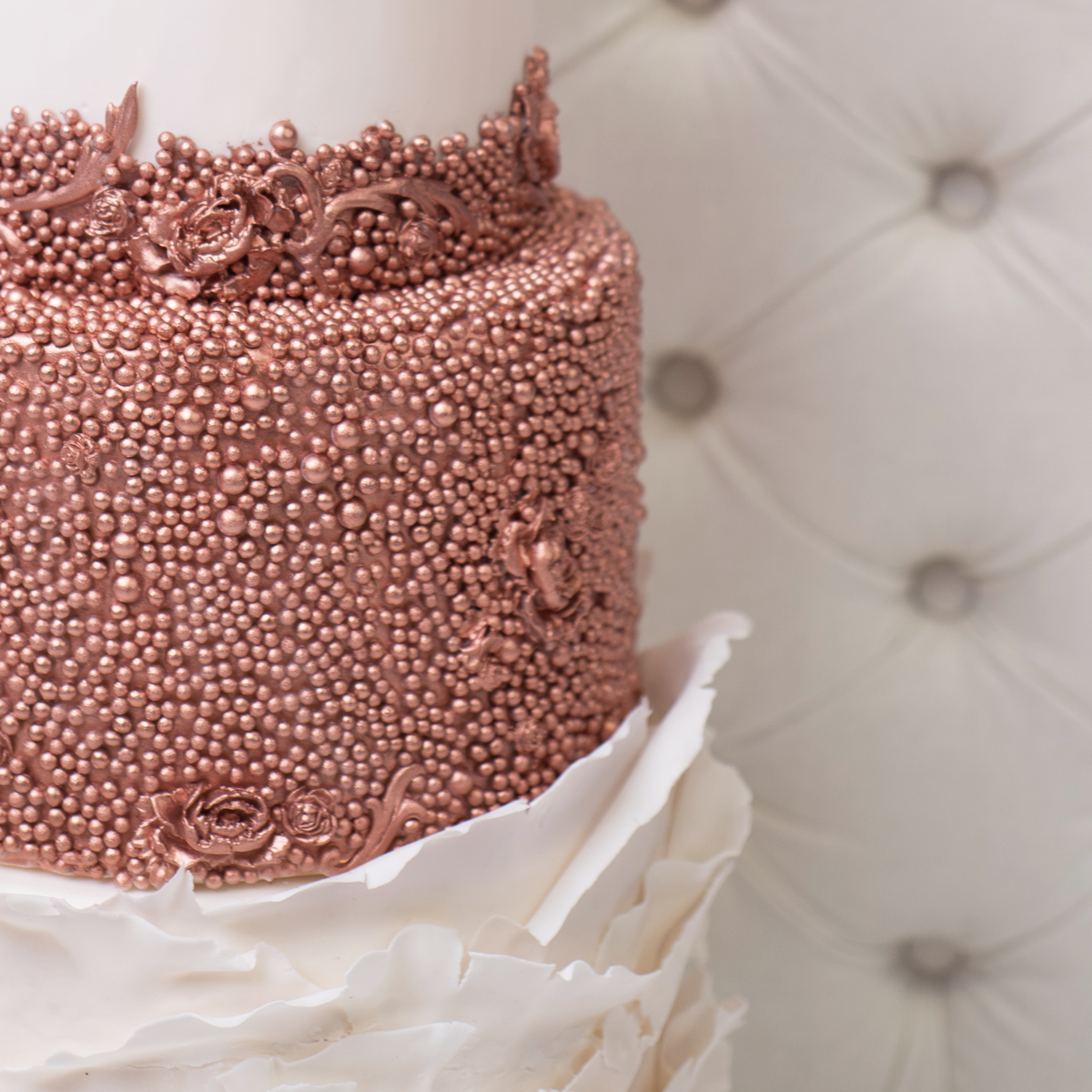 Whippt Desserts - Rose gold bead and bas relief