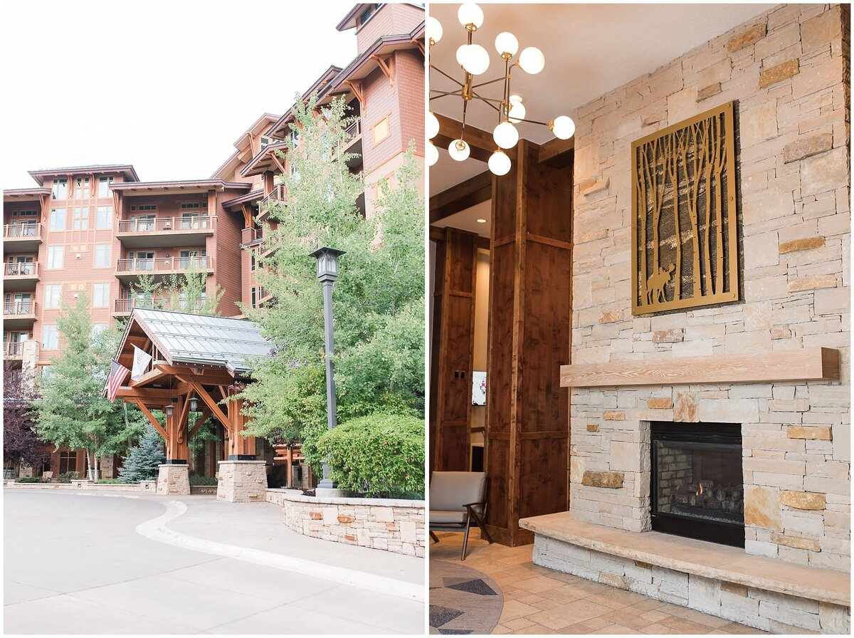 Main entrance and fireplace at the Hyatt Centric Park City