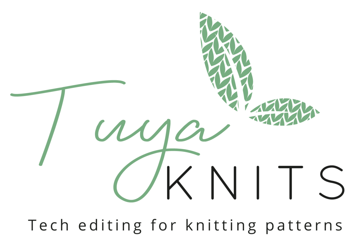 Tuya written in green and decorated with green leaves patterned with knit stitches.  The work KNITS is in black.