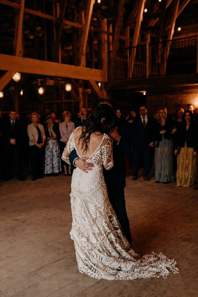 Bride and Groom First Dance in Barn Hayfield Catskills Wedding Barn Wedding Catskills Wedding Planner Canvas Weddings