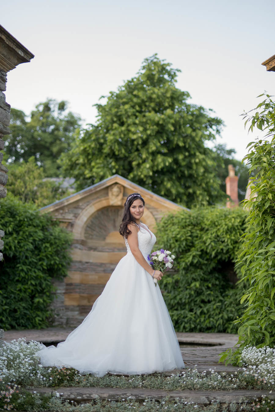 Bridal photo on steps at Hestercombe Gardens