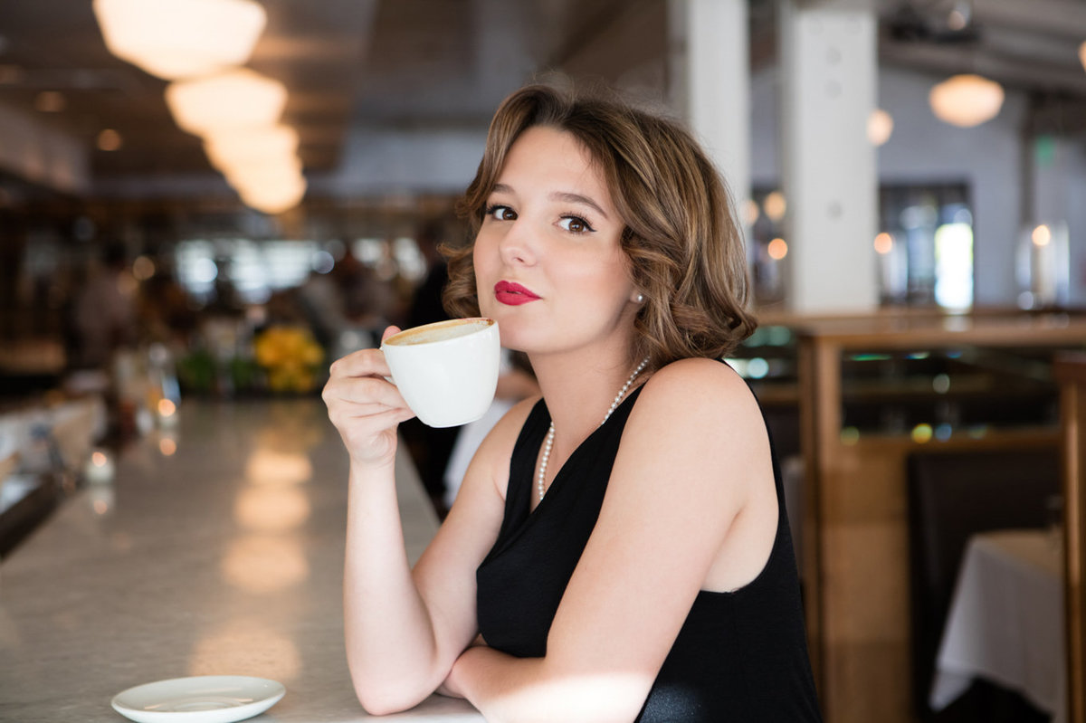 Beauty and Commercial Girl with Coffee