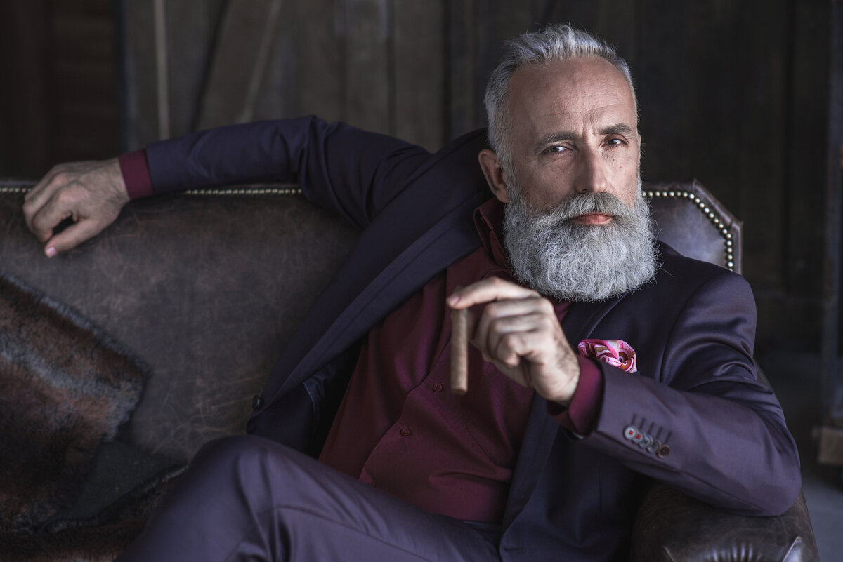 GPS-custom-clothing-photoshoot-beard-purple-suit