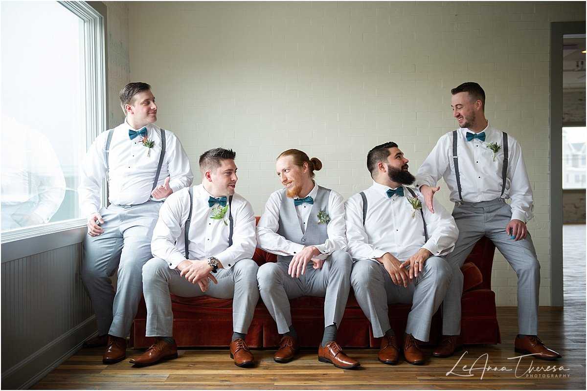 groomsmen at daymark on couch