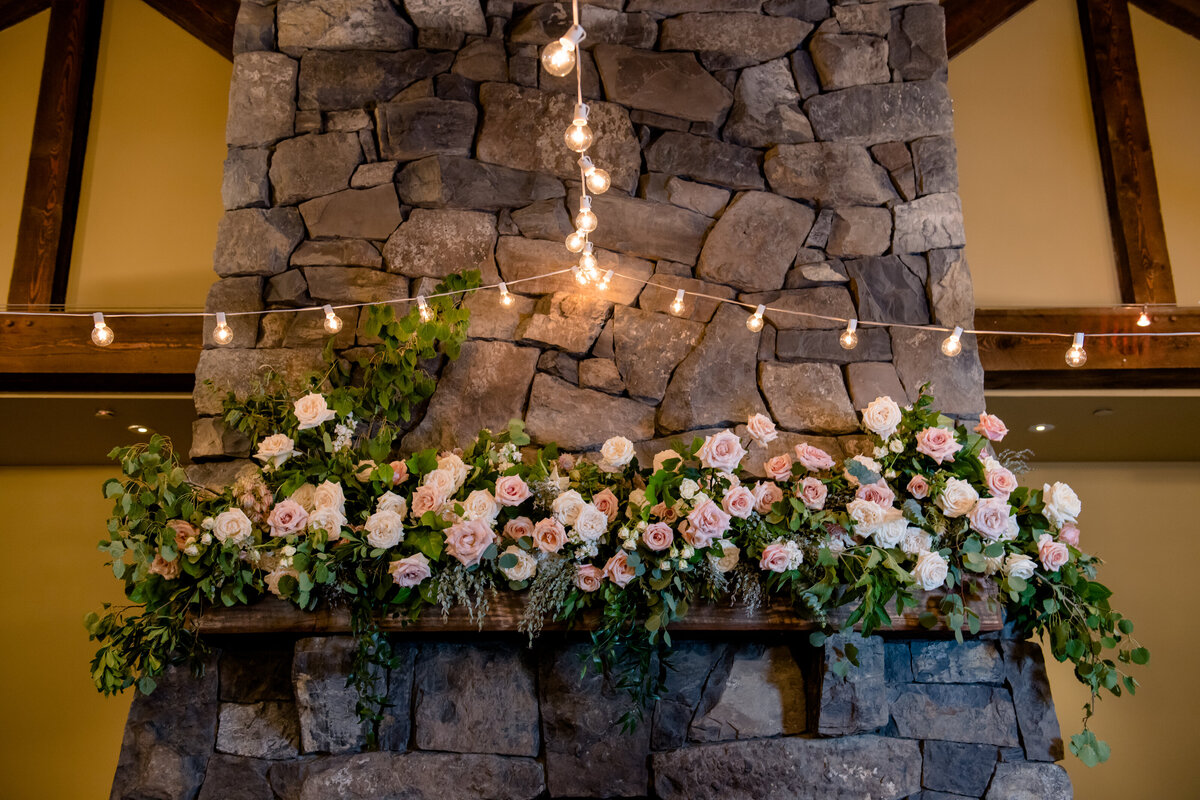 Silvertip Resort Wedding Mantle Floral Installlation