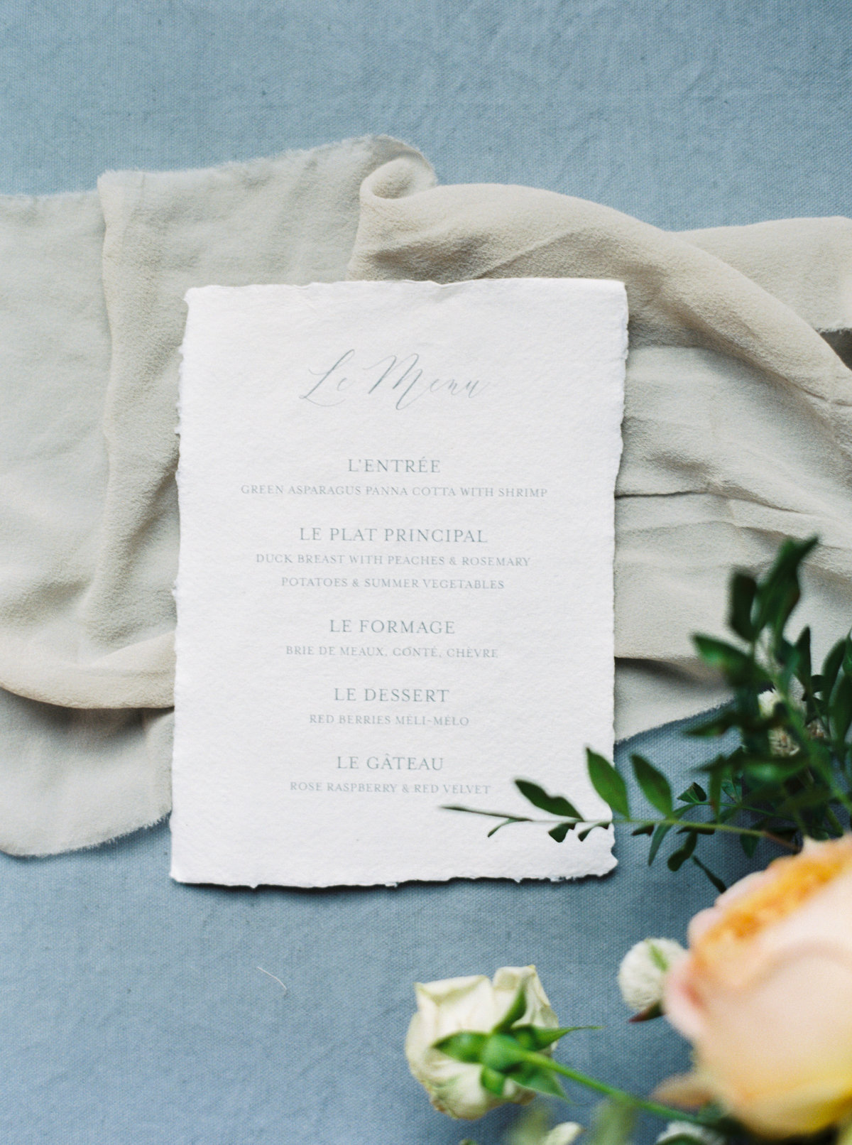 Menu card, letterpress on handmade paper, paris wedding, Martha Stewart Weddings