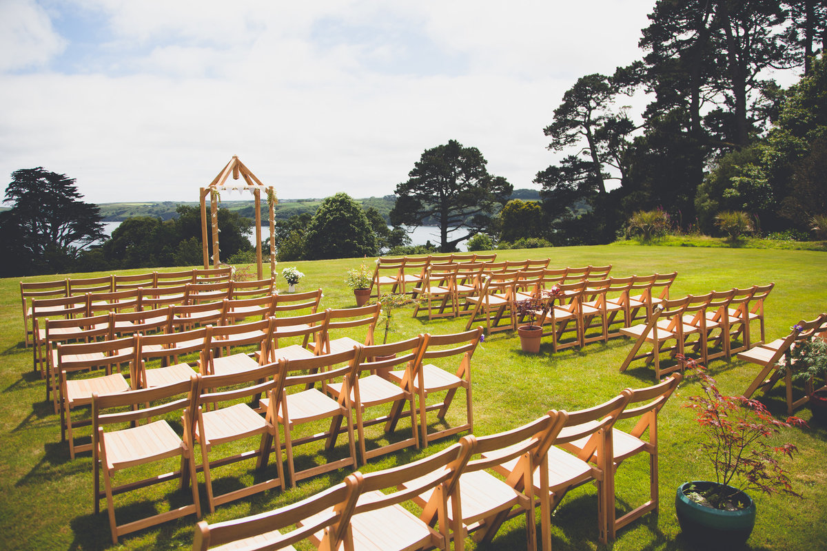 Outside ceremony Bosloe House Helford wedding