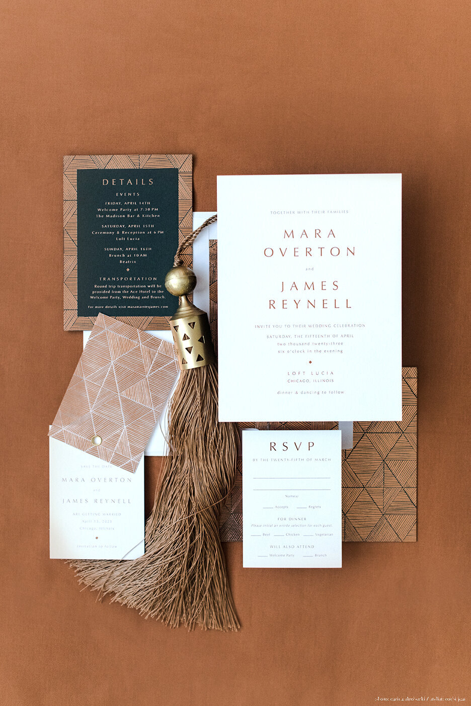 Custom Gold Foil and Letterpress Wedding Invitation | Nikisha King Design