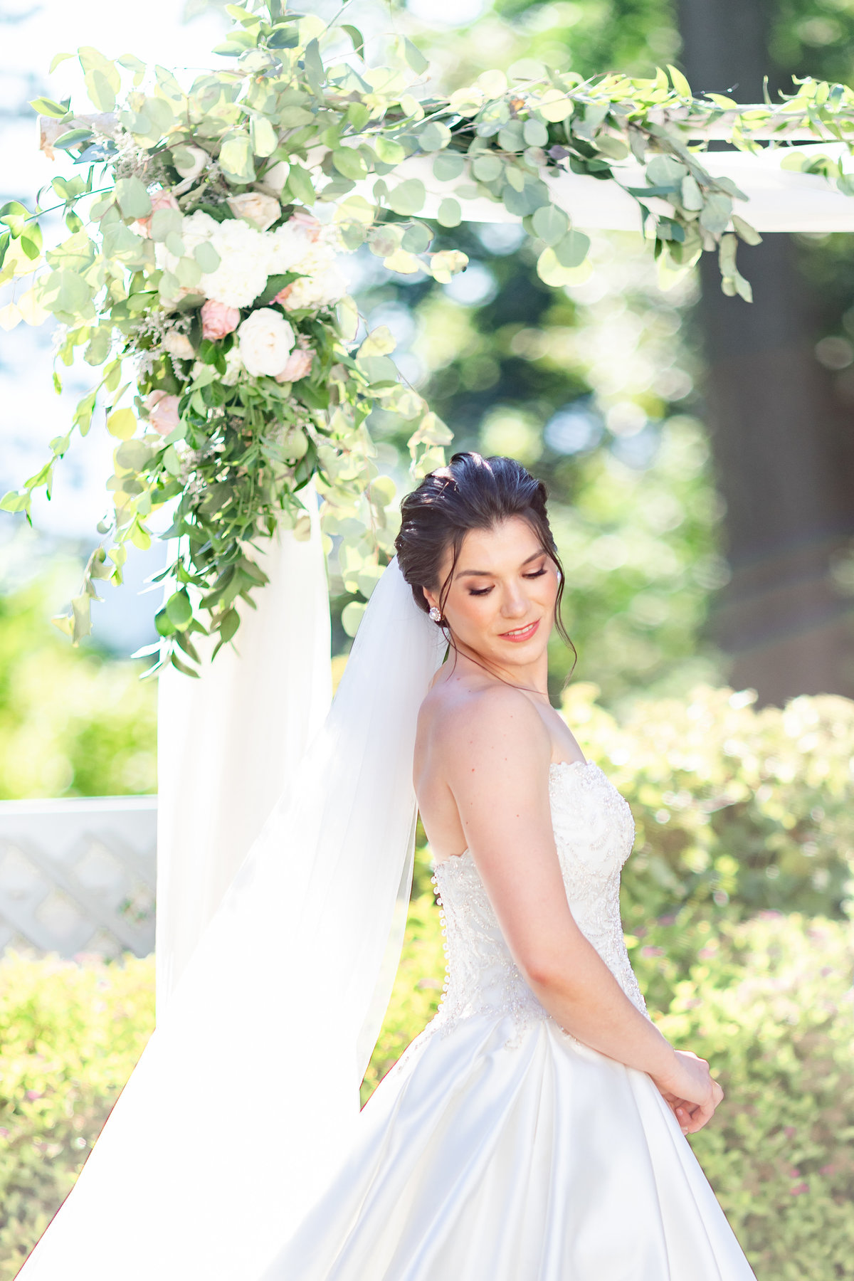 Bridal portrait outside at summer Briarcliff Manor wedding