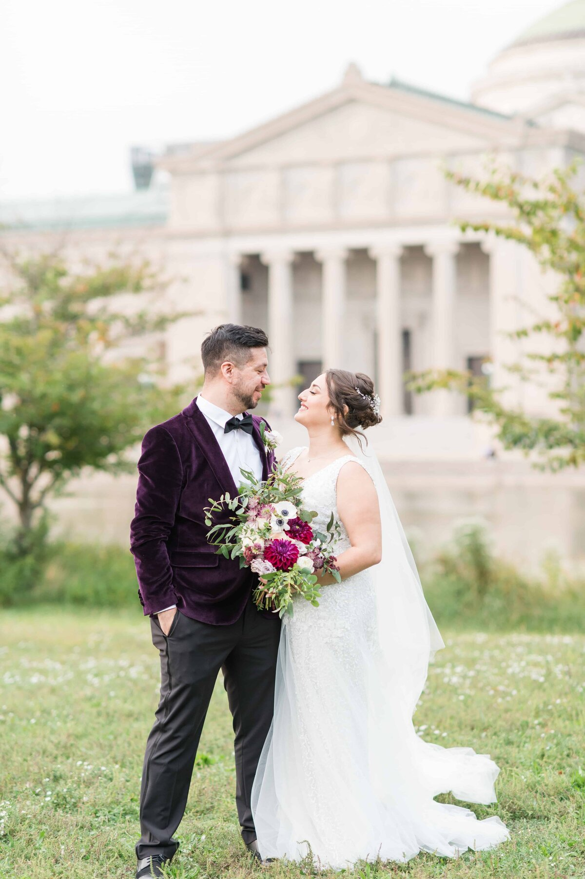 Chicago Bride and Groom portrait with Museum in the background.