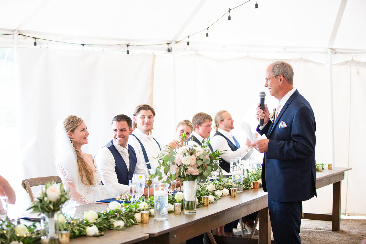 Strawberry-Creek-Ranch-Wedding-Ashley-McKenzie-Photography-Romantic-Mountain-Affair-Navy-Blush-Colorado-father-of-the-bride-speech
