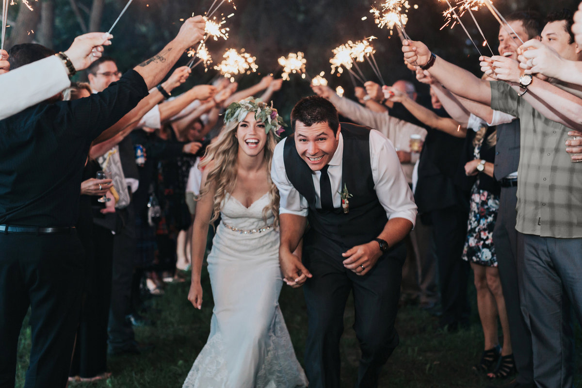 calgary farm acreage wedding sparkler exit