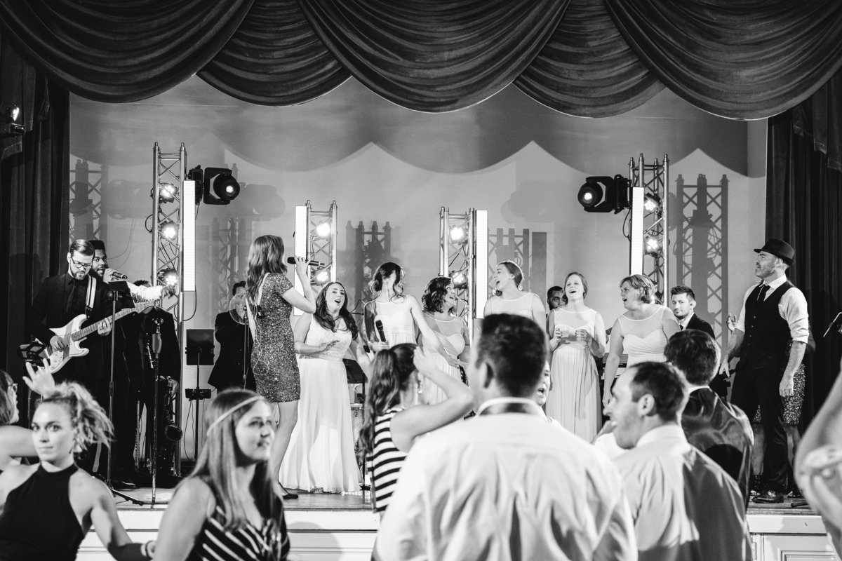 TFWC Mansion wedding photographer live band bride sings on stage Austin Texas