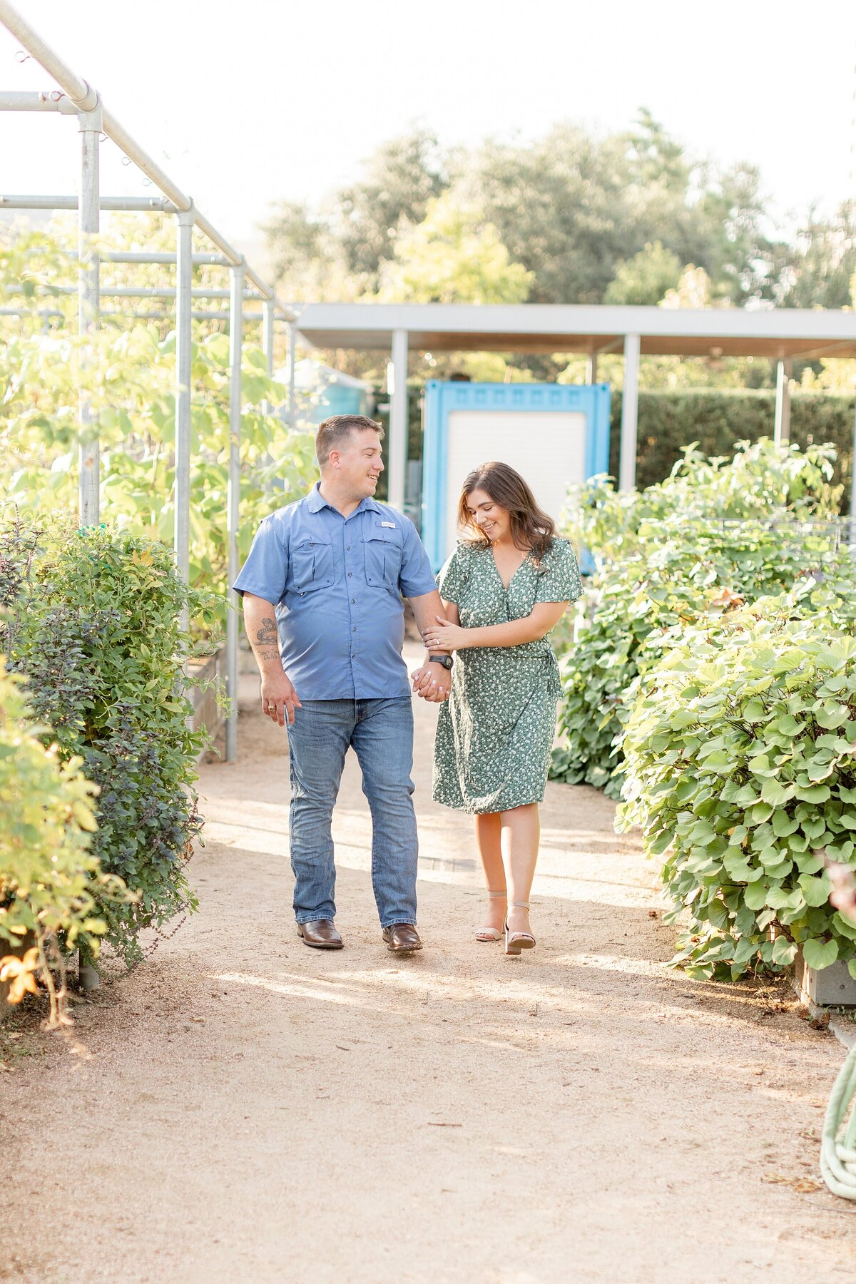 McGovern Centennial Gardens Engagement Photography Bright Airy Walking