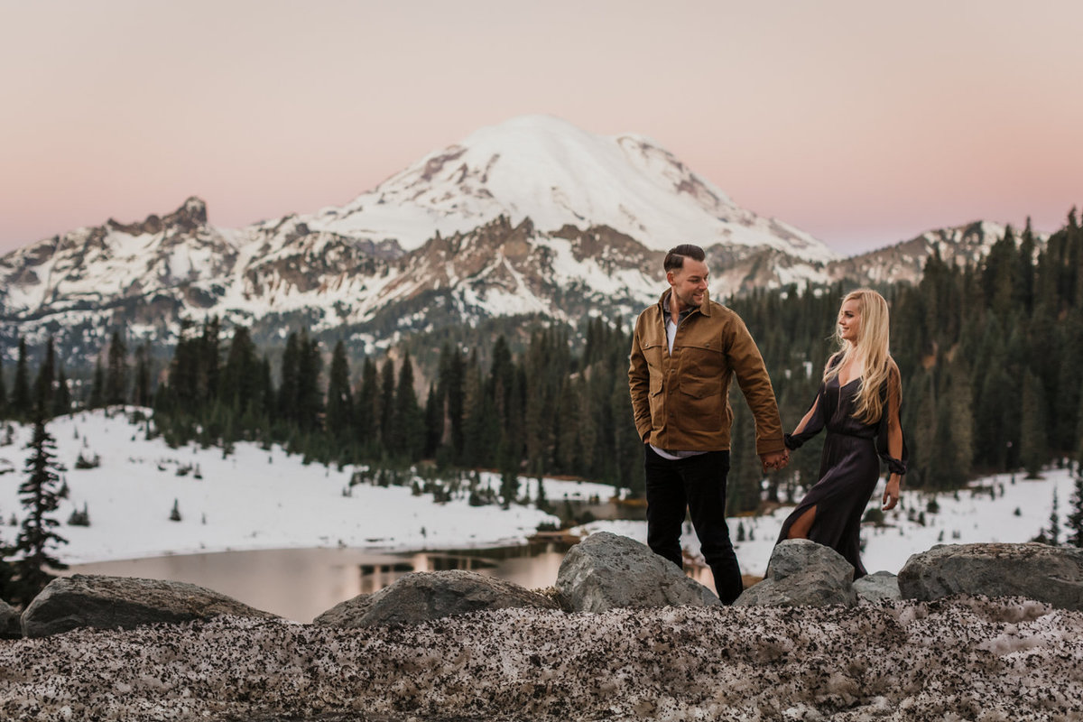 Snowy Mount Rainier Engagement Photos-4