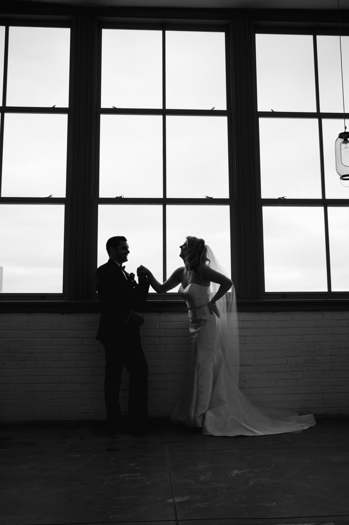bride and groom in convention hall in asbury park wedding