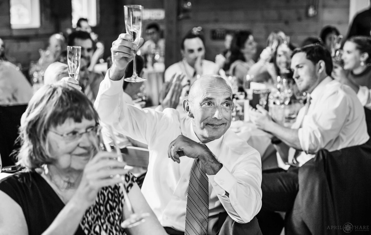 B&W Wedding Reception Photography at Denver Botanic Gardens Chatfield Farms