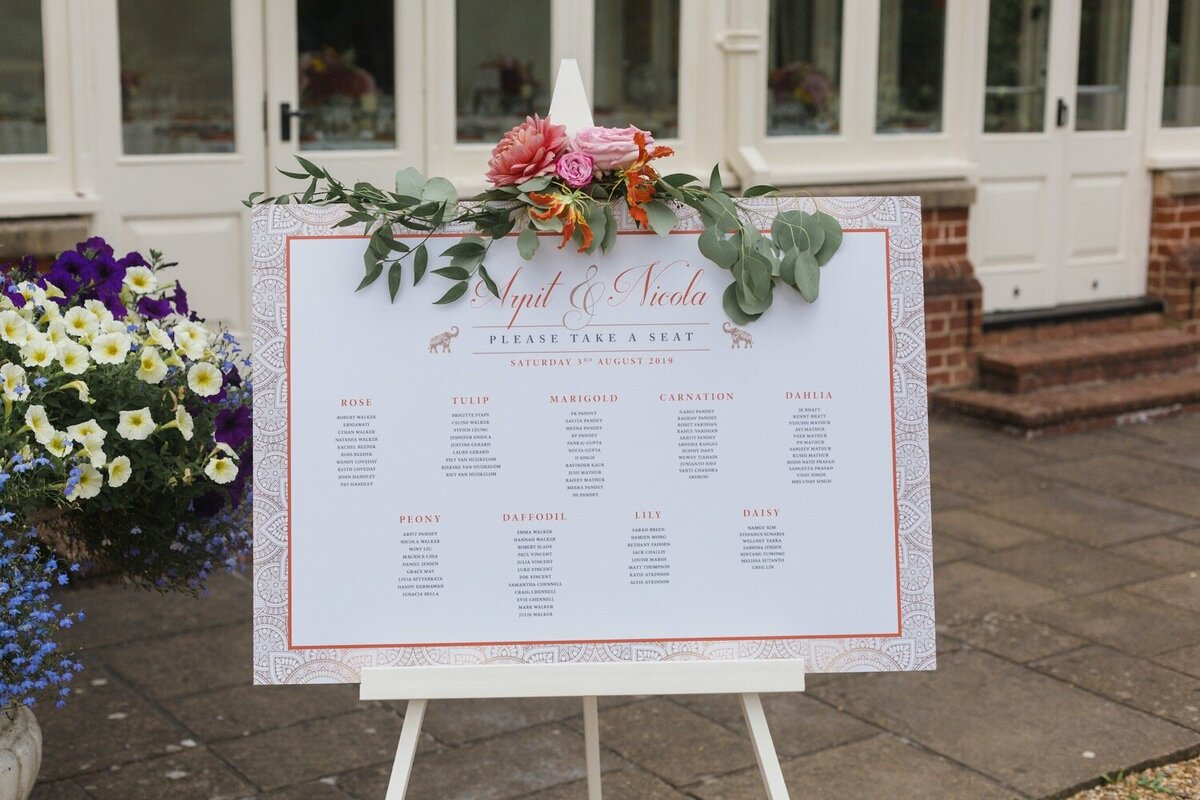 Table plan with flowers on top