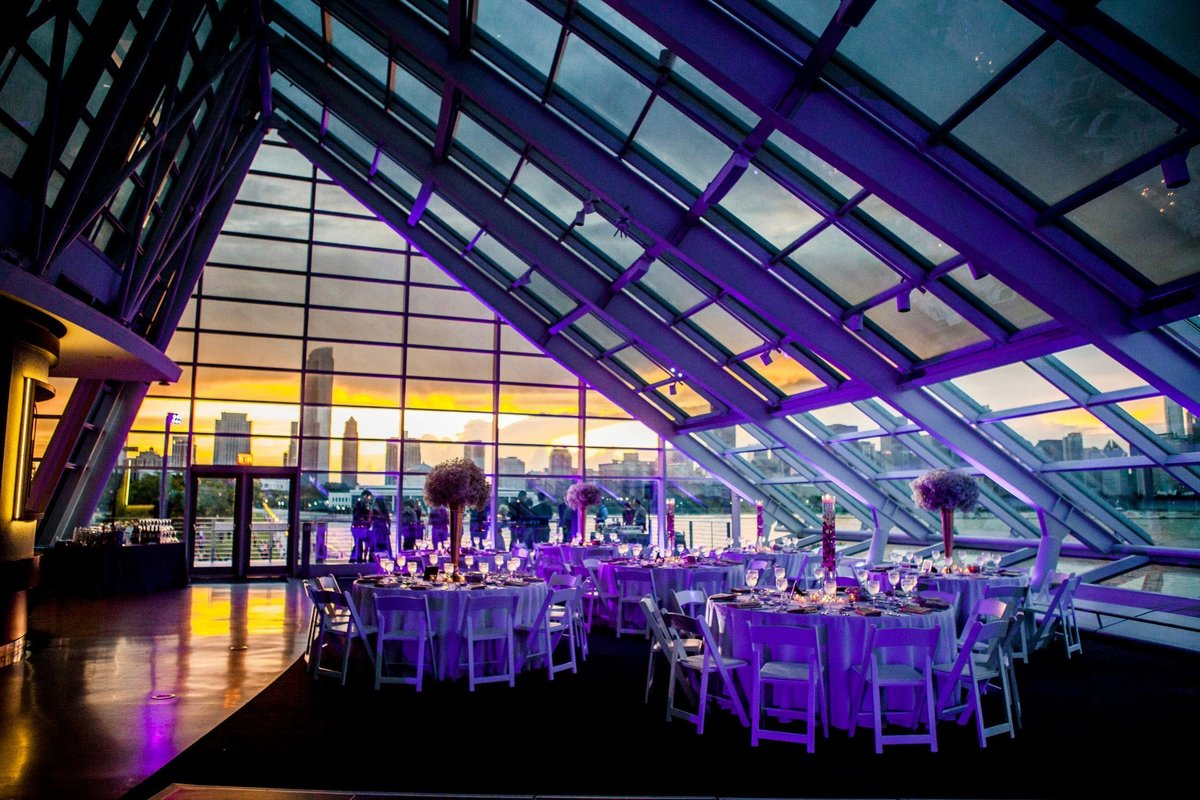 View of a wedding reception during an Adler Planetarium wedding.