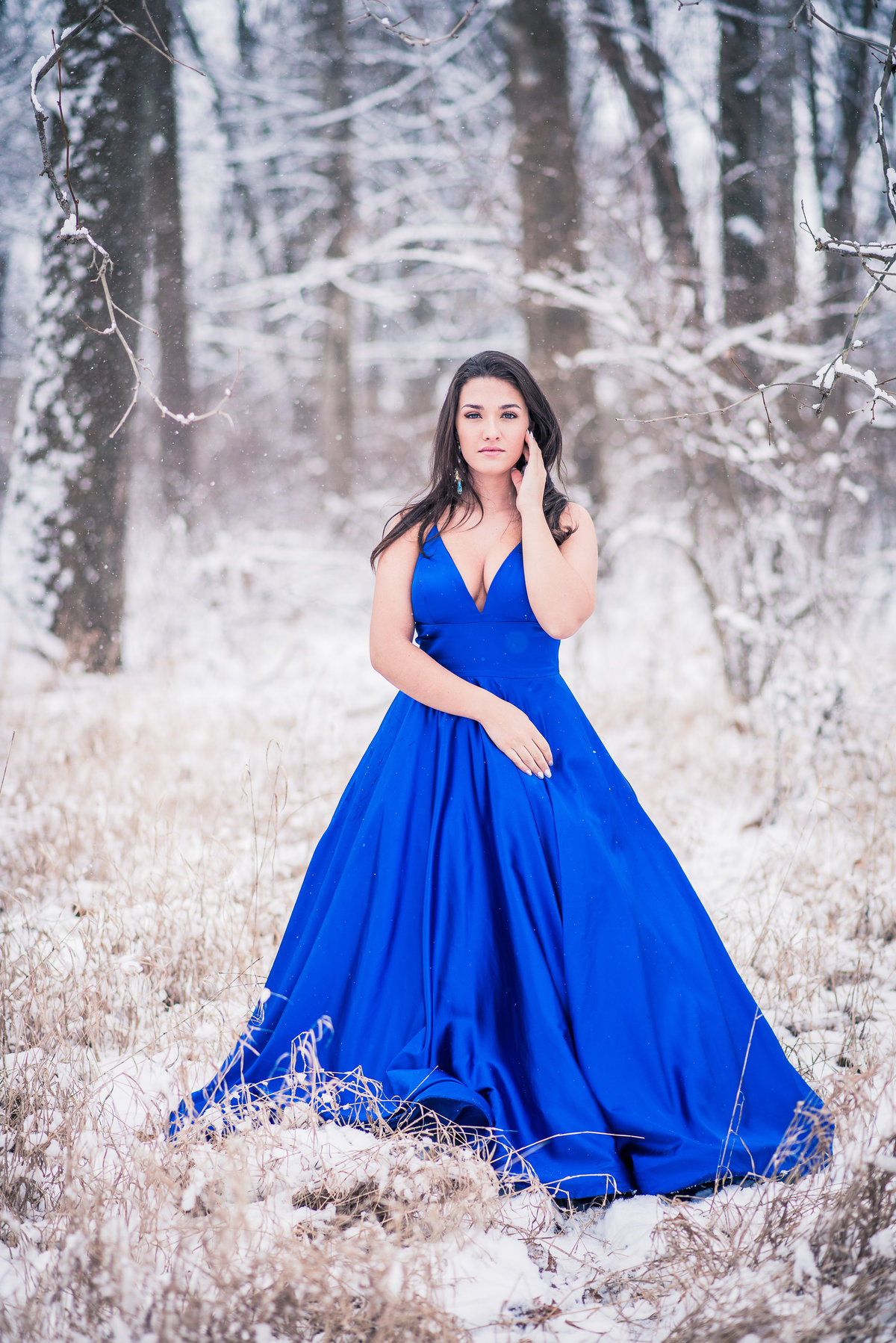 Senior snow session blue prom dress
