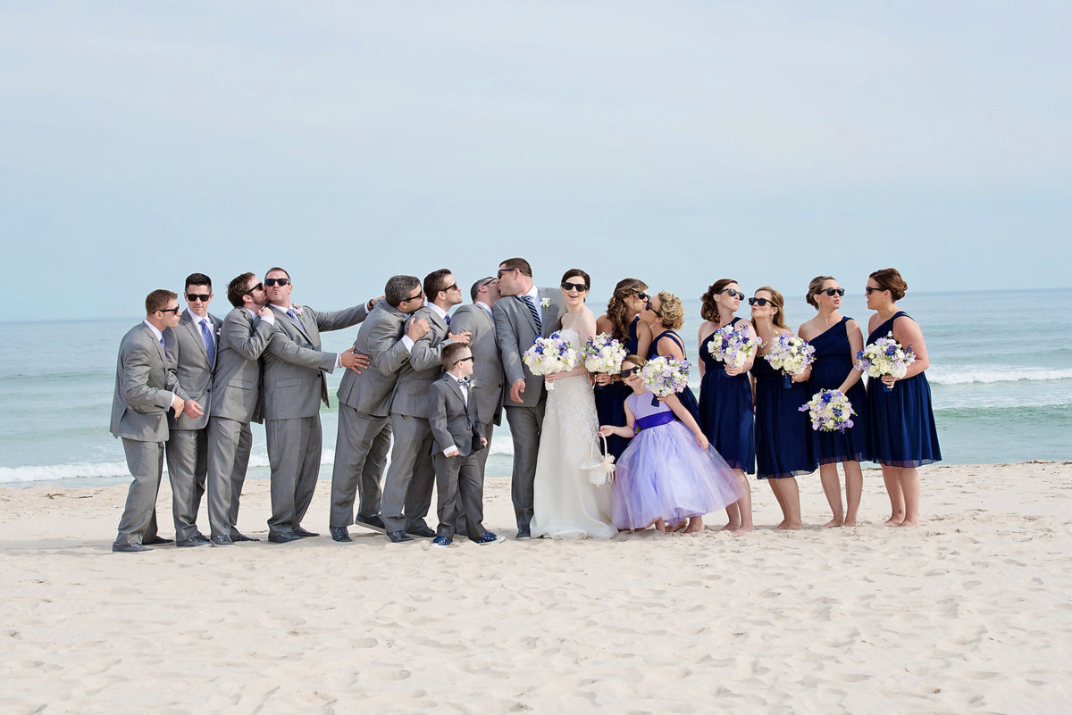 Bridal party on the beach at Westhampton
