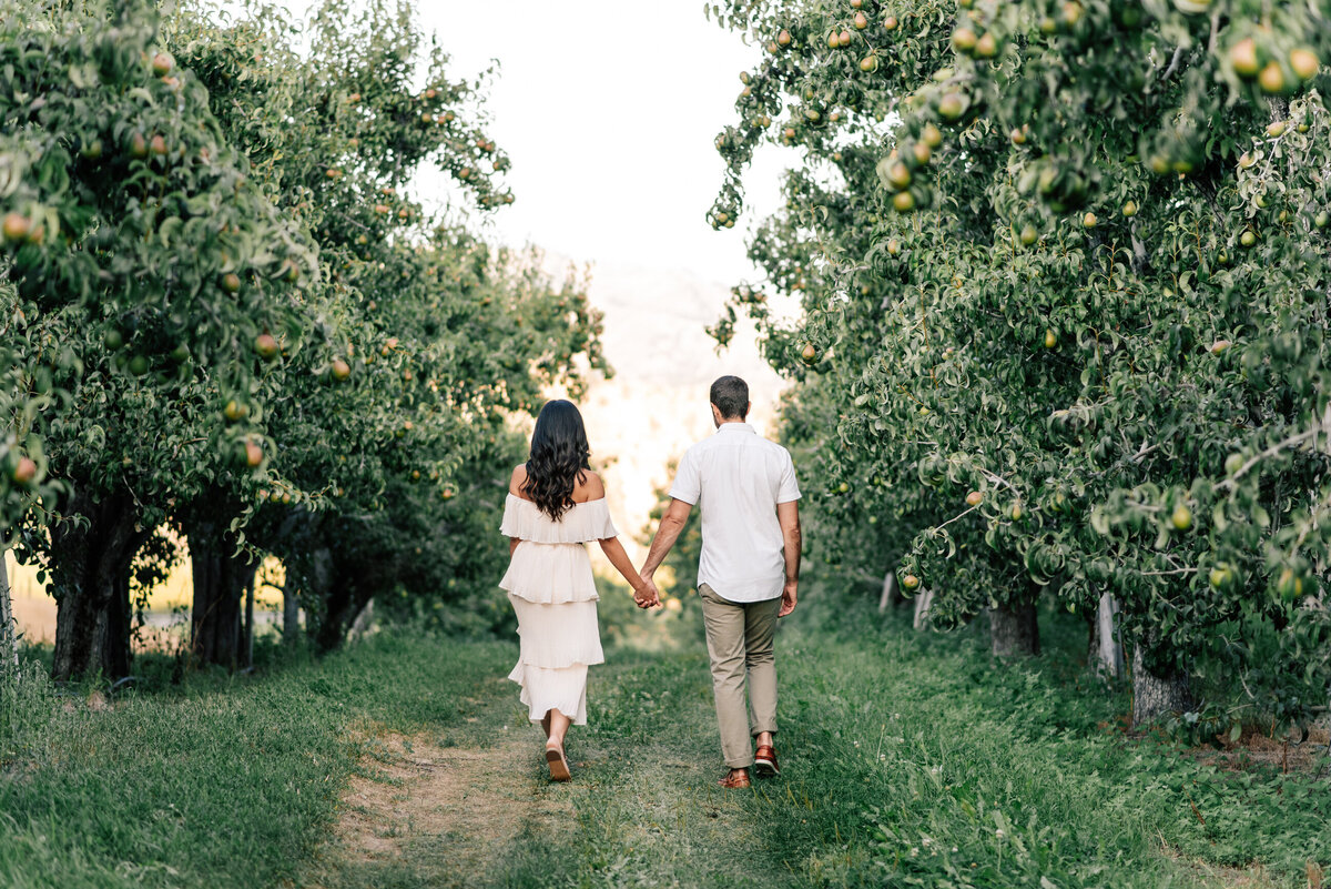 Couple walking through an orchard during engagement session at Beecher Hill House