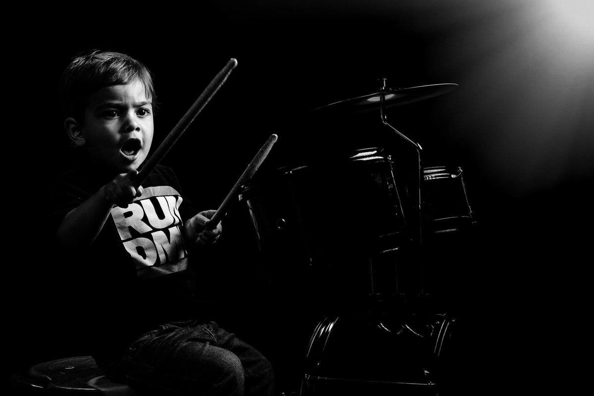 Musician Kid Drummer Family Portraits by King and Fields Studios Charleston SC