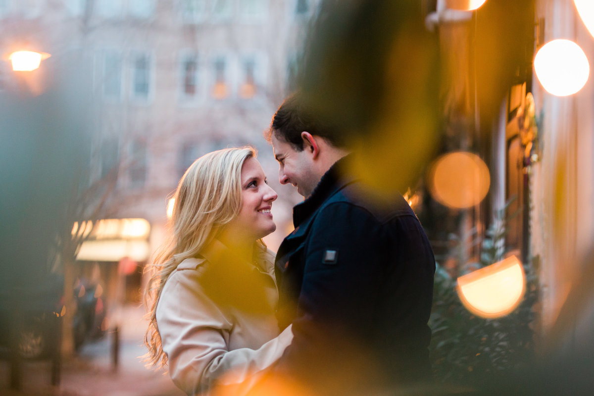 center city philadelphia engagement session after sunset