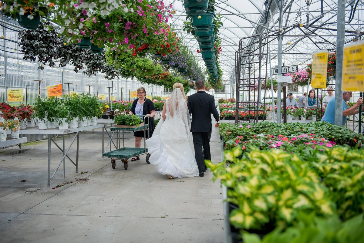 kriskandel photographed a gorgeous wedding in a greenhouse