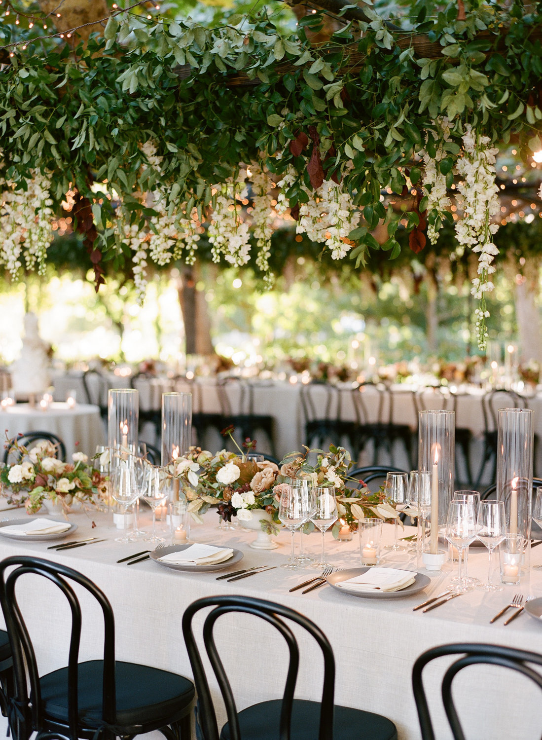 Reception for wedding by Jenny Schneider Events at the Beaulieu Garden in Napa Valley, California. Photo by Lori Paladino Photography.