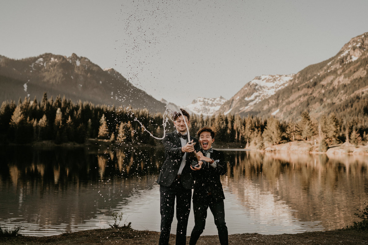 Gold Creek Pond Same Sex PNW Wedding Elopement Snoqualmie Pss