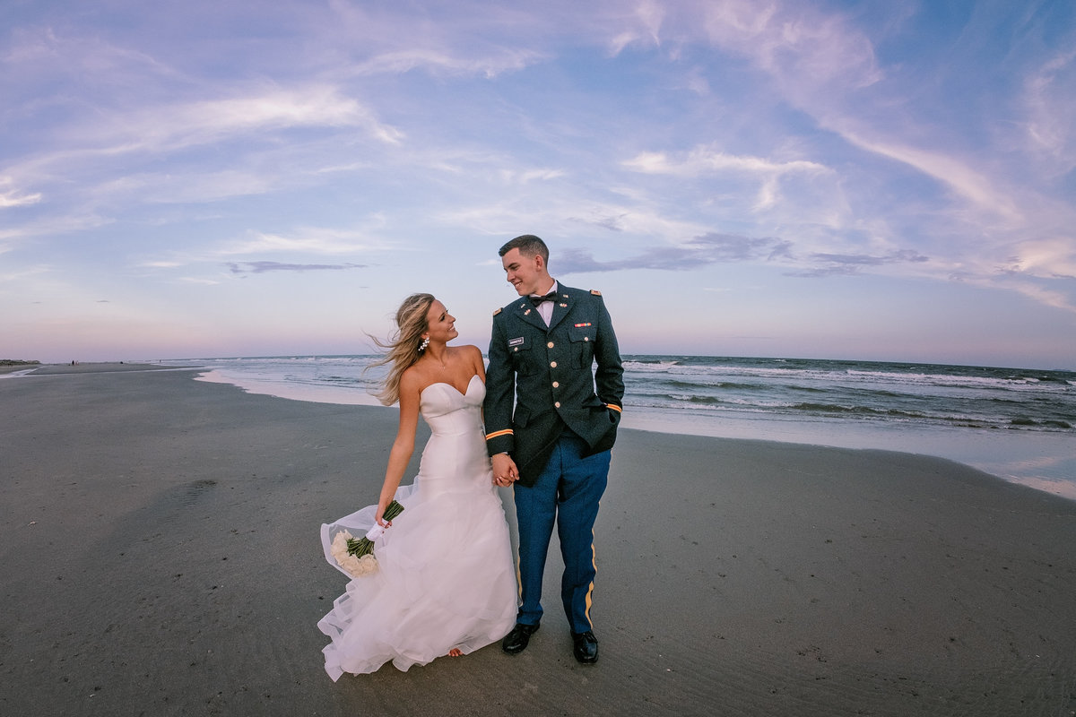 Military wedding on the beach in isle of palms, south carolina