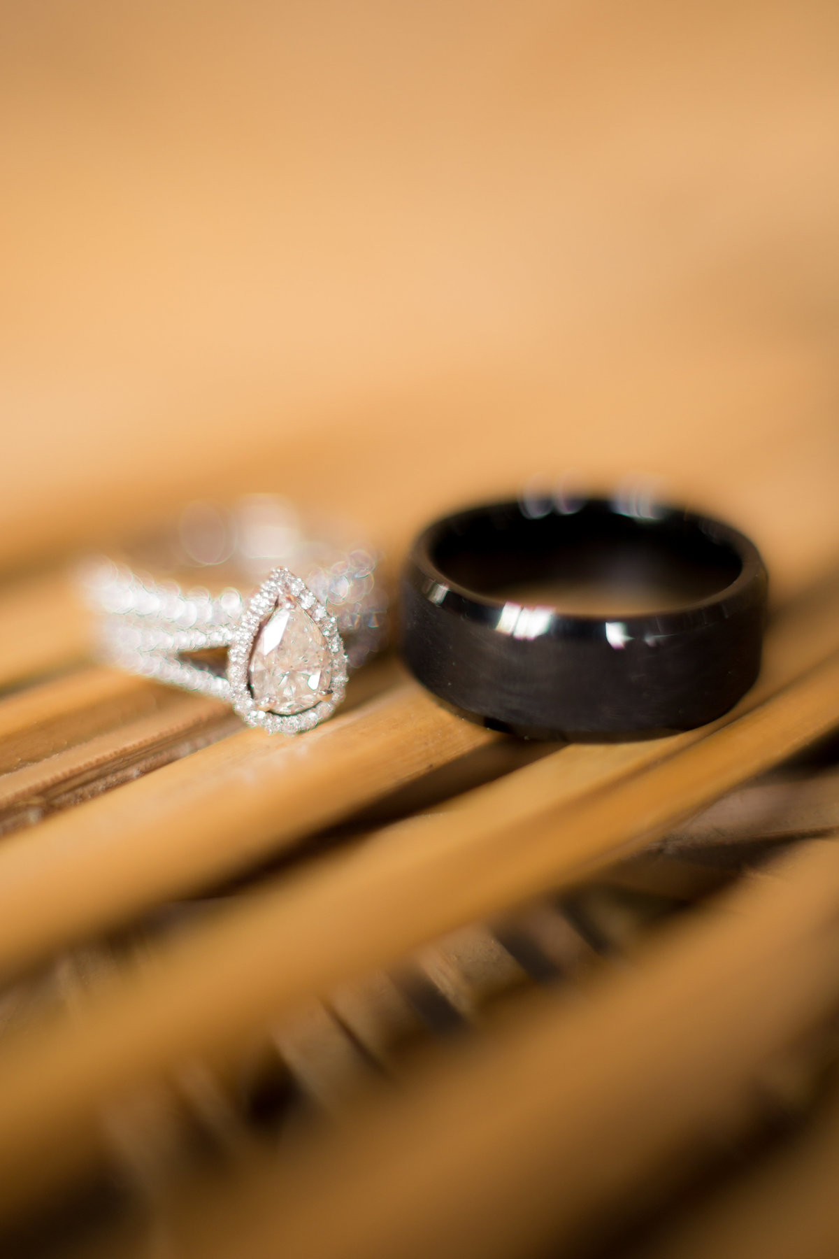 black and white bride and groom ring photographed